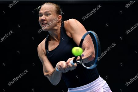 Kaia Kanepi of Estonia in action against Elise Mertens of Belgium during the Gippsland Trophy - WTA 500 tennis tournament finals match on Margaret Court Arena at Melbourne Park in Melbourne, Australia, 07 February 2021.