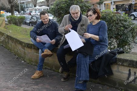 Simona Borioni, Enzo Salvi and Maurizio Mattioli with the scripts during a short presentation of the new Pizza Girls series which will be broadcast on LA5 starting from February 15th in homage to the female figure.