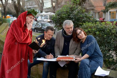 Stock Photo of Simona Borioni, Maurizio Mattioli and Enzo Salvi with figurant who impersonates poet Dante Alighieri offering a pizza, during a short presentation of the new Pizza Girls series which will be broadcast on LA5 starting from February 15th in homage to the female figure.