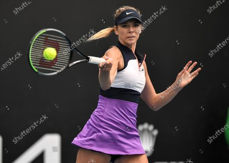 Katie Boulter in action during her first round match