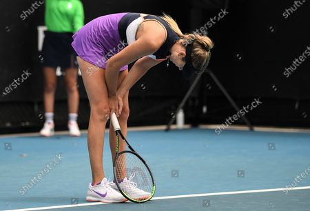 Katie Boulter looks dejected during her first round match