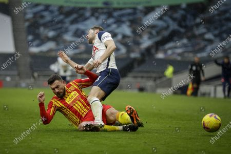 Stock Picture of Ben Davies (R) of Tottenham in action against Robert Snodgrass (L) of West Bromwich during the English Premier League soccer match between Tottenham Hotspur and West Bromwich Albion in London, Britain, 07 February 2021.