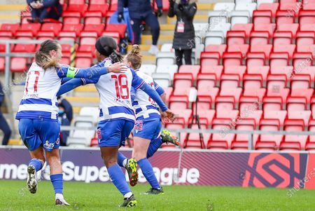 GOAL Reading forward Danielle Carter (18) runs away to celebrate her goal during the FA Women's Super League match between Manchester United Women and Reading LFC at Leigh Sports Village, Leigh