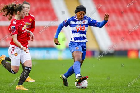 Reading forward Danielle Carter (18) controls the ball  during the FA Women's Super League match between Manchester United Women and Reading LFC at Leigh Sports Village, Leigh