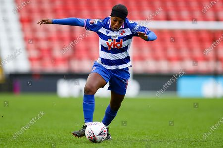 Reading forward Danielle Carter (18) with the ball during the FA Women's Super League match between Manchester United Women and Reading LFC at Leigh Sports Village, Leigh