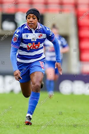 Reading forward Danielle Carter (18) during the FA Women's Super League match between Manchester United Women and Reading LFC at Leigh Sports Village, Leigh