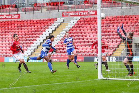 GOAL Reading forward Danielle Carter (18) scores to make it 2-0 during the FA Women's Super League match between Manchester United Women and Reading LFC at Leigh Sports Village, Leigh