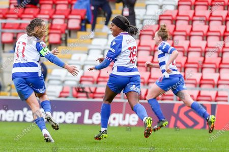 GOAL both Goal scorers for Reading, Reading midfielder Natasha Harding (11) and Reading forward Danielle Carter (18) celebrate after a goal during the FA Women's Super League match between Manchester United Women and Reading LFC at Leigh Sports Village, Leigh