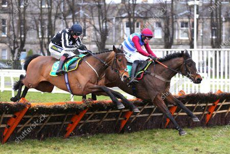 Musselburgh 7th February 2021 bet365 Scottish Stayers Novices' HurdleWinner, Threeunderthrufive (Adrain Heskin) far side jumping ahead of Fantastikas and Sam Twiston-DaviesPhoto Tracy Roberts
