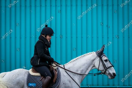 Stock Photo of RTE Sports Katie Walsh before the off of racing at Leopardstown