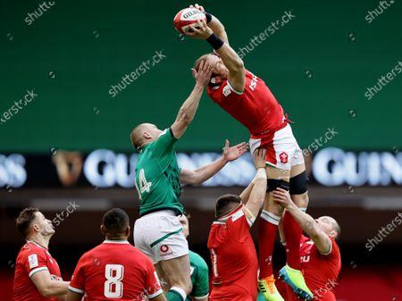 Wales vs Ireland. Ireland's Keith Earls and Alun Wyn Jones of Wales