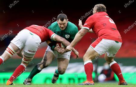 Wales vs Ireland. Ireland's Cian Healy with Adam Beard and Tomas Francis of Wales