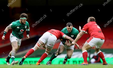Wales vs Ireland. Ireland's Andrew Porter and Cian Healy with Adam Beard and Tomas Francis of Wales