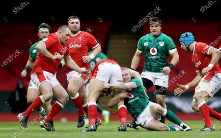 Wales vs Ireland. Wales' Hallam Amos and Keith Earls of Ireland