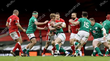 Wales vs Ireland. Wales' Nick Thompkins tackles Keith Earls of Ireland