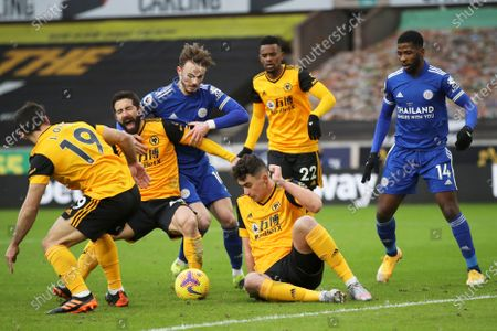 Wolverhampton Wanderers's Joao Moutinho (2-L) in action against LeicesterÕs James Maddison (4-R) during the English Premier League soccer match between Wolverhampton Wanderers and Leicester City in Wolverhampton, Britain, 07 February 2021.