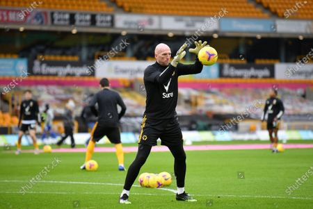 Wolverhampton Wanderers's John Ruddy warms for the English Premier League soccer match between Wolverhampton Wanderers and Leicester City in Wolverhampton, Britain, 07 February 2021.