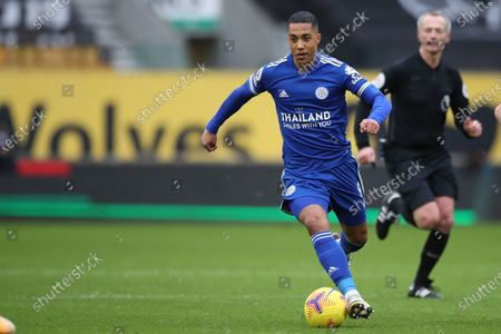 Leicester's Youri Tielemans in action during the English Premier League match between Wolves and Leicester City at the Molineux Stadium in Wolverhampton, England