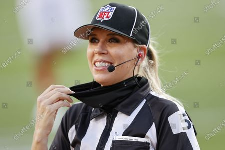 Down Judge Sarah Thomas, the first woman to officiate a Super Bowl, on the field before the AFC Champion Kansas City Chiefs play the NFC Champion Tampa Bay Buccaneers in the National Football League Super Bowl LV at Raymond James Stadium in Tampa, Florida, USA, 07 February 2021.