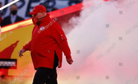 Kansas City Chiefs head coach Andy Reid takes the field before the NFC Champion Tampa Bay Buccaneers play the AFC Champion Kansas City Chiefs in the National Football League Super Bowl LV at Raymond James Stadium in Tampa, Florida, USA, 07 February 2021