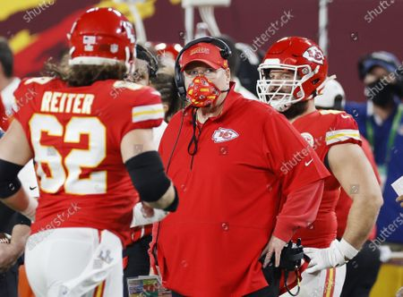 Kansas City Chiefs head coach Andy Reid as they play the Tampa Bay Buccaneers in the second quarter of the National Football League Super Bowl LV at Raymond James Stadium in Tampa, Florida, USA, 07 February 2021.