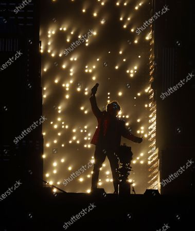 Canadian singer The Weeknd performs during the Halftime Show at the National Football League Super Bowl LV at Raymond James Stadium in Tampa, Florida, USA, 07 February 2021.