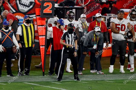 Down Judge Sarah Thomas, the first woman to officiate a Super Bowl during a play between the Tampa Bay Buccaneers and the Kansas City Chiefs during the second half of the National Football League Super Bowl LV at Raymond James Stadium in Tampa, Florida, USA, 07 February 2021.