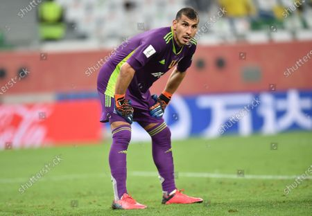Goalkeeper Nahuel Guzman of Tigres reacts during the FIFA Club World Cup semifinal soccer match between SE Palmeiras and Tigres UANL in Al Rayyan, Qatar, 07 February 2021.