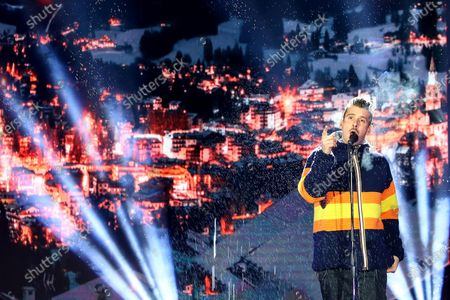 Italian singer Francesco Gabbani performs on stage during the opening ceremony of the FIS Alpine Skiing World Championships in Cortina d'Ampezzo, Italy, 07 February 2021. The 2021 FIS Alpine World Ski Championships will be held in Cortina d'Ampezzo from 7 to 21 February 2021.