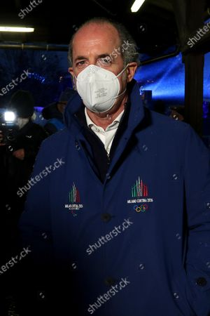 Italy's Veneto Region president Luca Zaia during the opening ceremony of the FIS Alpine Skiing World Championships in Cortina d'Ampezzo, Italy, 07 February 2021.