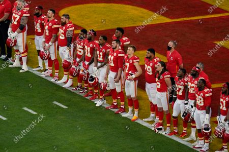 """Stock Picture of The Kansas City Chiefs listen as Alicia Keys performs """"Lift Every Voice and Sing"""" virtually before the NFL Super Bowl 55 football game between the Kansas City Chiefs and Tampa Bay Buccaneers, in Tampa, Fla"""