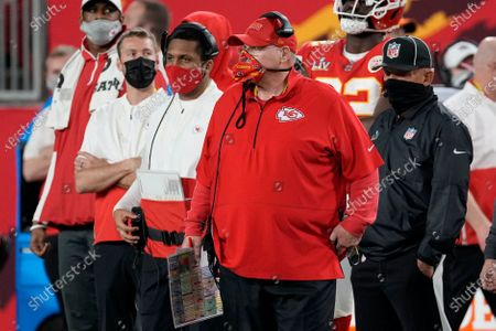 Kansas City Chiefs head coach Andy Reid watches from the sideline during the first half of the NFL Super Bowl 55 football game against the Tampa Bay Buccaneers, in Tampa, Fla