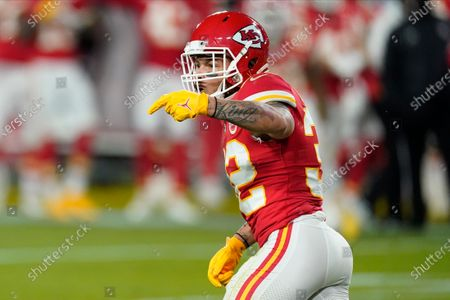 Kansas City Chiefs strong safety Tyrann Mathieu (32) celebrates a goal-line stand against the Tampa Bay Buccaneers during the first half of the NFL Super Bowl 55 football game, in Tampa, Fla