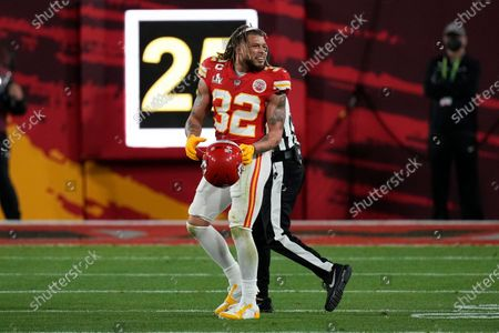 Kansas City Chiefs strong safety Tyrann Mathieu reacts after a play against the Tampa Bay Buccaneers during the first half of the NFL Super Bowl 55 football game, in Tampa, Fla