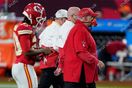 Kansas City Chiefs head coach Andy Reid leaves the field after the first half of the NFL Super Bowl 55 football game against the Tampa Bay Buccaneers, in Tampa, Fla