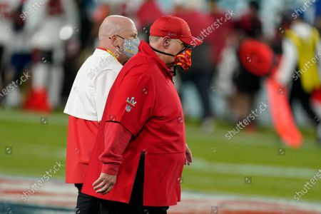 Kansas City Chiefs head coach Andy Reid walks off the field at halftime of the NFL Super Bowl 55 football game against the Tampa Bay Buccaneers, in Tampa, Fla