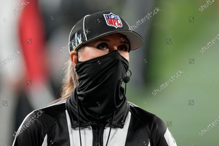 Down judge Sarah Thomas (53) during the second half of the NFL Super Bowl 55 football game between the Tampa Bay Buccaneers and the Kansas City Chiefs, in Tampa, Fla