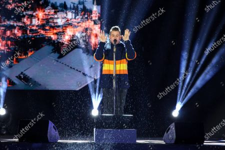 Stock Photo of The singer Francesco Gabbani guest of the opening ceremony