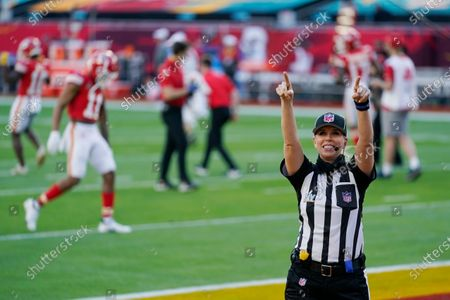 Down judge Sarah Thomas (53) arrives before the NFL Super Bowl 55 football game between the Kansas City Chiefs and Tampa Bay Buccaneers, in Tampa, Fla