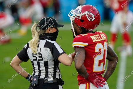 Down judge Sarah Thomas (53) talks with Kansas City Chiefs cornerback Bashaud Breeland, right, before the NFL Super Bowl 55 football game between the Chiefs and Tampa Bay Buccaneers, in Tampa, Fla