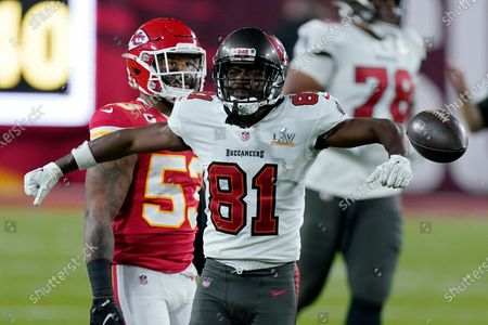 Tampa Bay Buccaneers wide receiver Antonio Brown reacts after making a catch against the Kansas City Chiefs during the first half of the NFL Super Bowl 55 football game, in Tampa, Fla