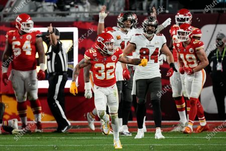 Kansas City Chiefs strong safety Tyrann Mathieu celebrates a goal line stand against the Tampa Bay Buccaneers during the first half of the NFL Super Bowl 55 football game, in Tampa, Fla