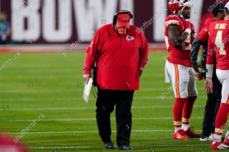 Stock Picture of Kansas City Chiefs' Andy Reid hangs his head during the second half of the NFL Super Bowl 55 football game against the Tampa Bay Buccaneers, in Tampa, Fla