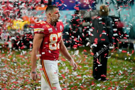 Kansas City Chiefs tight end Travis Kelce walks off the field after losing to the Tampa Bay Buccaneers of the NFL Super Bowl 55 football game, in Tampa, Fla. The Buccaneers defeated the Chiefs 31-9 to win the Super Bowl