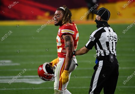 Kansas City Chiefs Tyrann Mathieu (32) is calmed by back judge Dino Paganelli after being called for holding in the second quarter of Super Bowl LV against the Tampa Bay Buccaneers at Raymond James Stadium