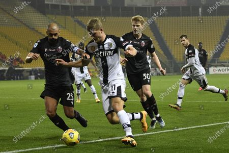 "Danilo Langeria (Bologna)Andreas Evald Cornelius (Parma)Jerdy Schouten (Bologna)           during the Italian ""Serie A  match between Parma 0-3 Bologna at  Ennio Tardini Stadium in Parma, Italy."