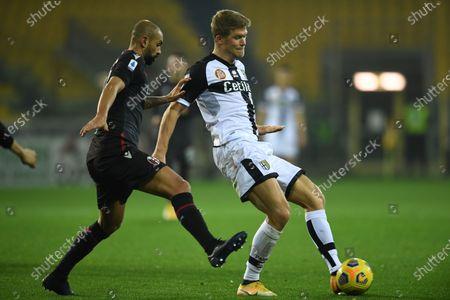 "Andreas Evald Cornelius (Parma)Danilo Langeria (Bologna)           during the Italian ""Serie A  match between Parma 0-3 Bologna at  Ennio Tardini Stadium in Parma, Italy."