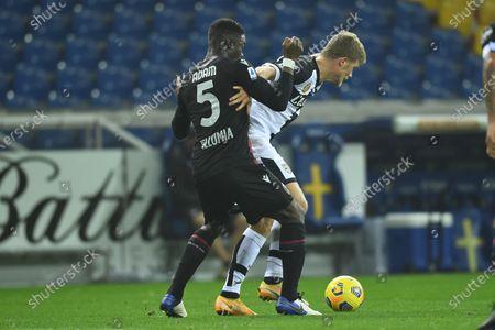 "Adama Soumaoro (Bologna)Andreas Evald Cornelius (Parma)           during the Italian ""Serie A  match between Parma 0-3 Bologna at  Ennio Tardini Stadium in Parma, Italy."