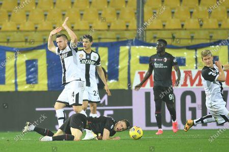 "Mattias Svanberg (Bologna)Jasmin Kurtic (Parma)Andreas Evald Cornelius (Parma)           during the Italian ""Serie A  match between Parma 0-3 Bologna at  Ennio Tardini Stadium in Parma, Italy."