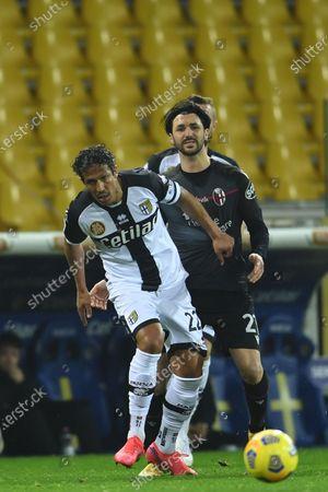 "Hernani Azevedo Junior (Parma)Roberto Soriano (Bologna)        during the Italian ""Serie A  match between Parma 0-3 Bologna at  Ennio Tardini Stadium in Parma, Italy."